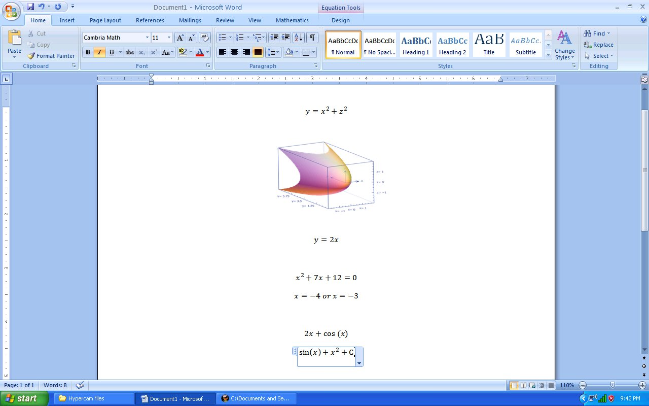 how to write mathematical equations in word